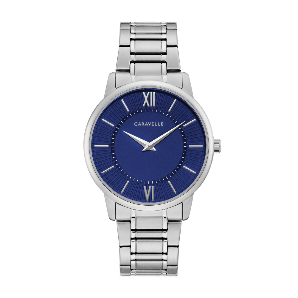 WATCH FOR MEN SILVER TONE STAINLESS STEEL WITH BLEU DIAL