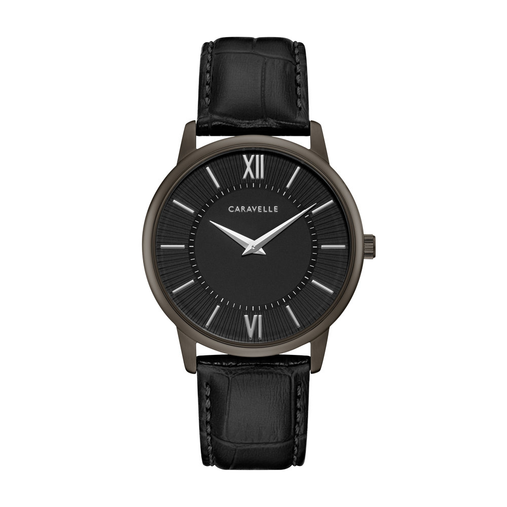 WATCH FOR MEN BLACK DIAL WITH BLACK LEATHER BRACELET