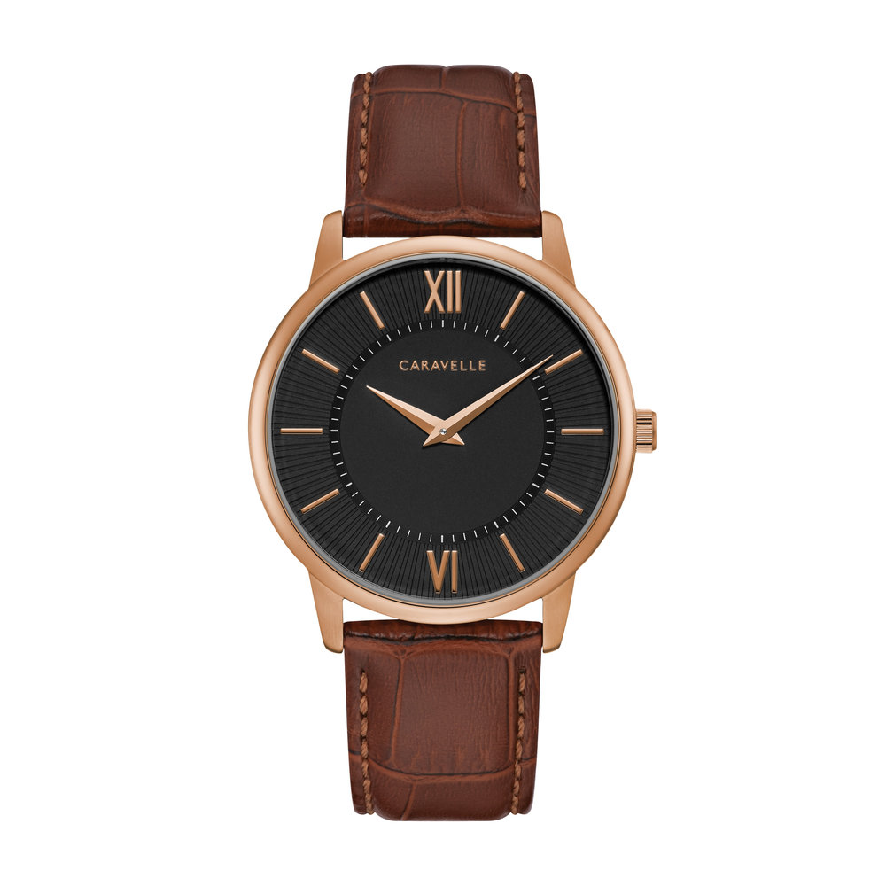 WATCH FOR MEN BLACK AND ROSE DIAL WITH BROWN LEATHER BRACELET