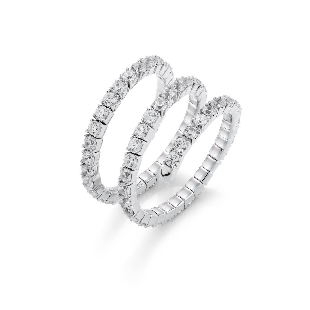 Silver .925 ring  for women - Gold plated &  Cubic Zirconia