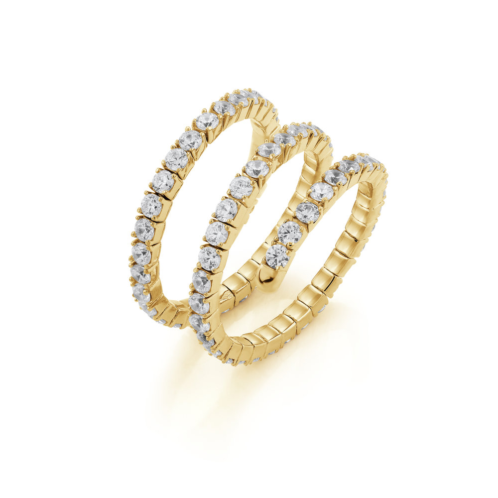 Silver .925 ring for women, gold plated & Cubic zirconia