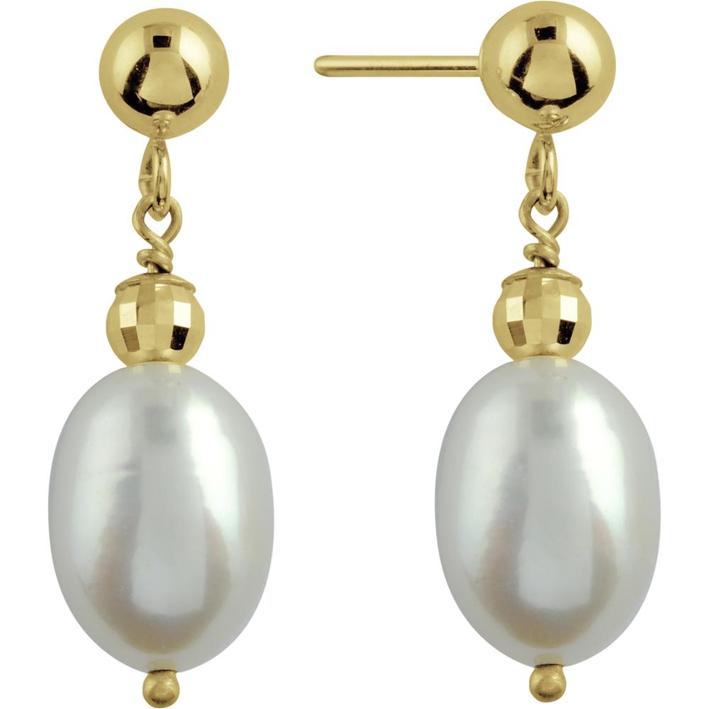 Earrings with Biwa Pearls in 14K yellow Gold
