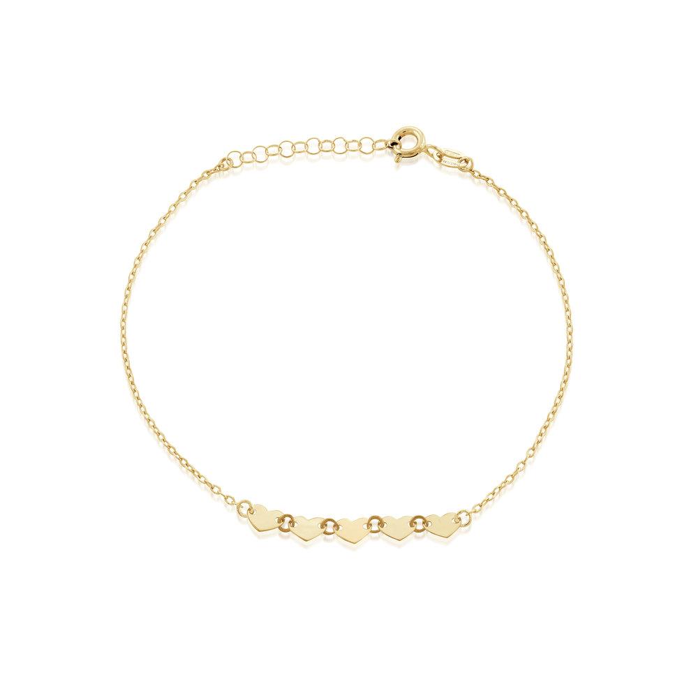 HEART BRACELET FOR WOMEN, 10K YELLOW GOLD