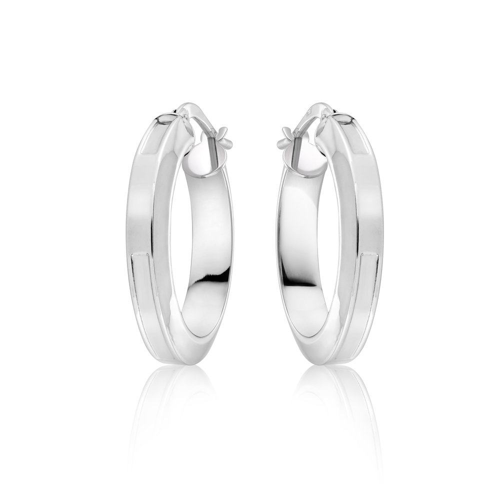 HOOP EARRINGS FOR WOMAN - 10K WHITE GOLD