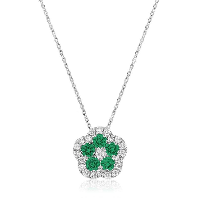 Pendentif pour femme avec Émeraudes et Diamants