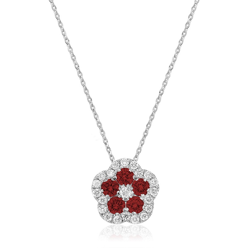 Pendant for wommen in Ruby & Diamond , with necklace 18''