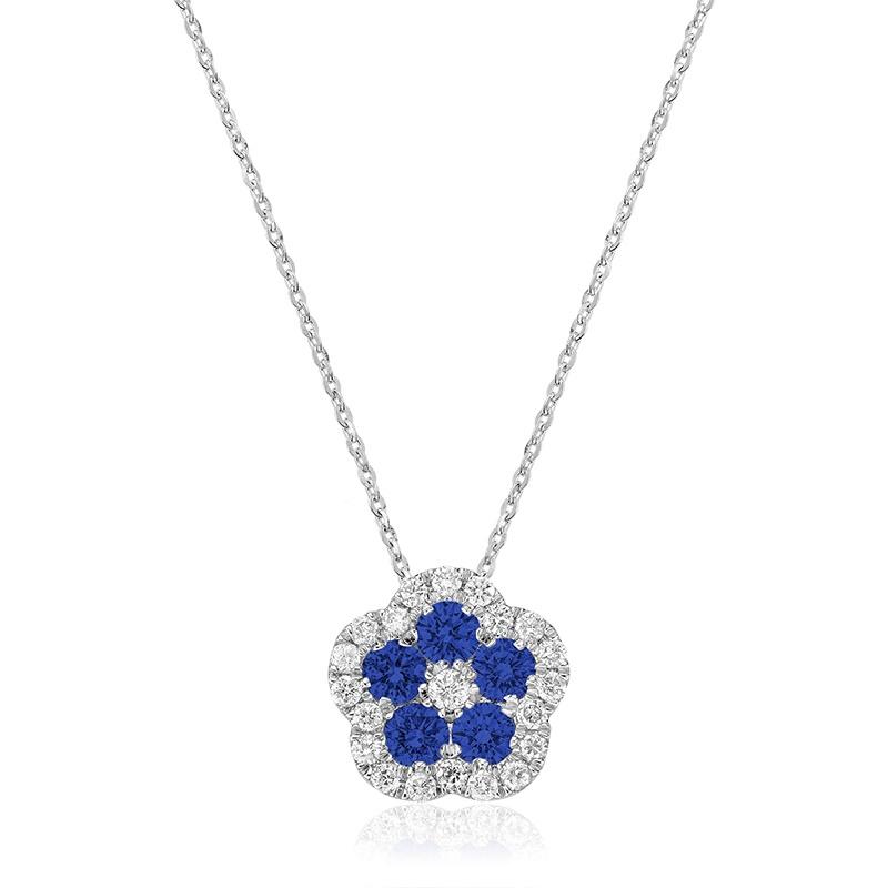 Pendentif pour femme avec Saphir Bleu et Diamants