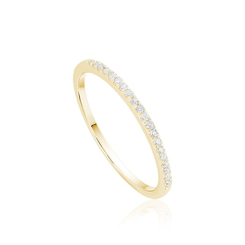 Ring for women semi-eternity - 10K yellow gold & Diamonds