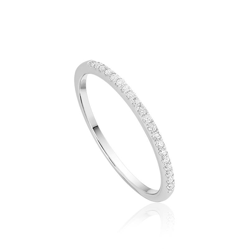 Ring for women semi-eternity - 10K white gold & Diamonds