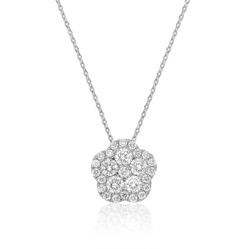 Pendant For Woman - 10k White Gold With Diamonds- 18