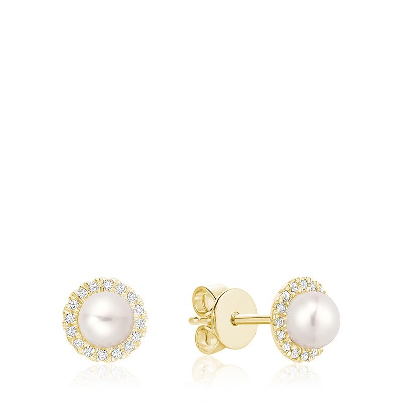 Boucle d'oreille en perle de culture d'eau douce et diamants