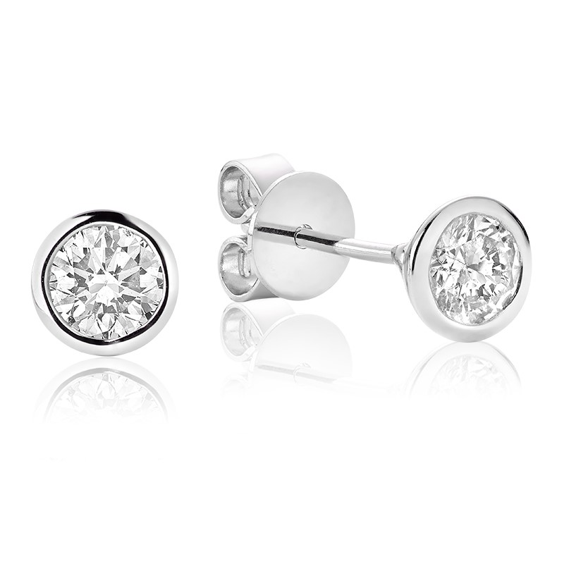 Boucles d'oreilles à tiges fixes pour femme - Or Blanc 10K & Diamants totalisant 0.15 Carat