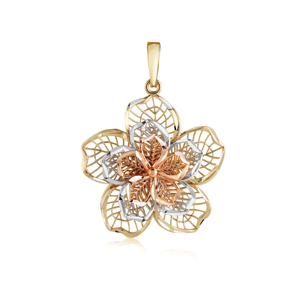 Flower Pendant  For Woman 3 Tons & Or10k