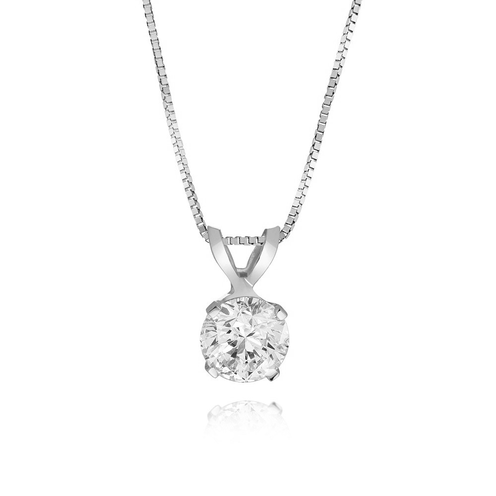 Pendant With Chain For Woman - 14k White Gold & Solitaire Cubic Zirconia