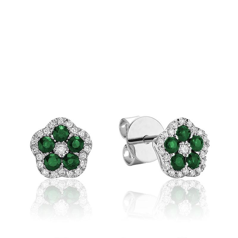 Boucles d'oreilles creusée en émeraude et diamants