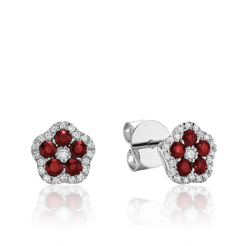 Boucles d'oreilles creusée en rubis et diamants