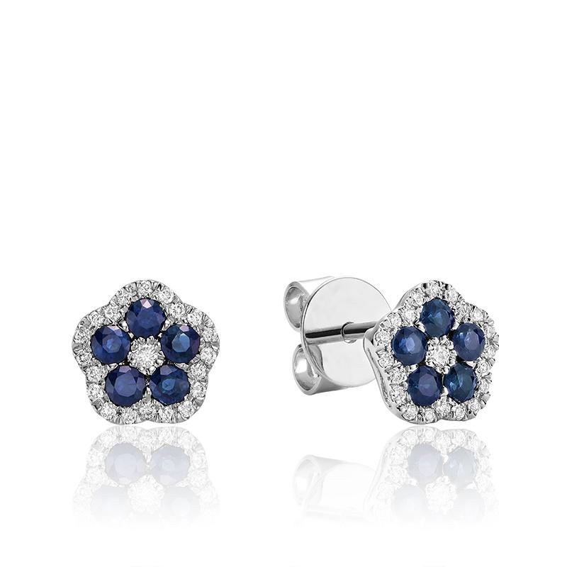 Boucles d'oreilles creusée en bleu saphir et diamants