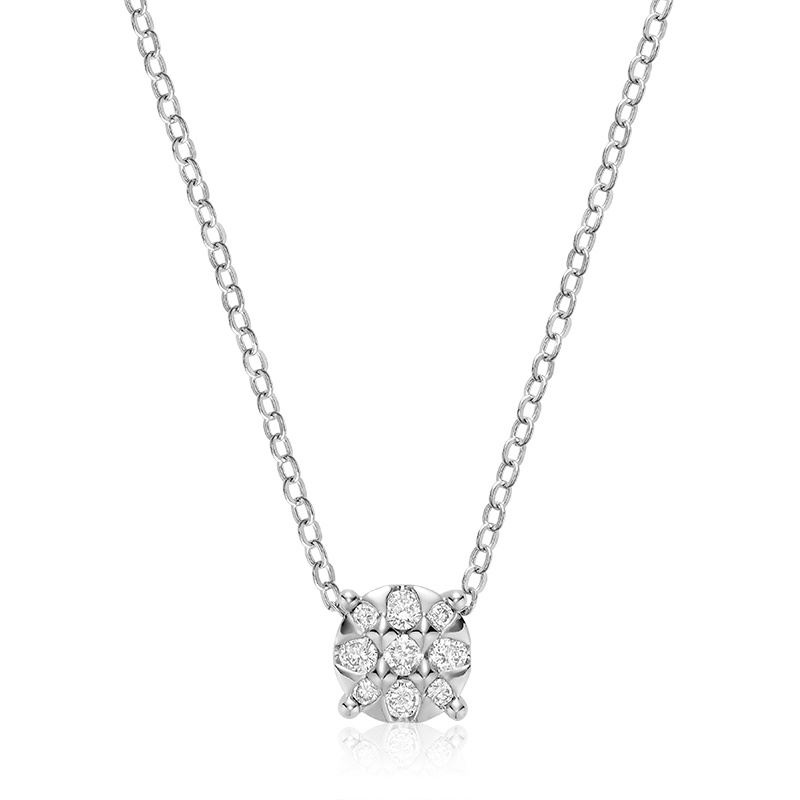 Pendentif pour femme - Or blanc 10K & Diamants