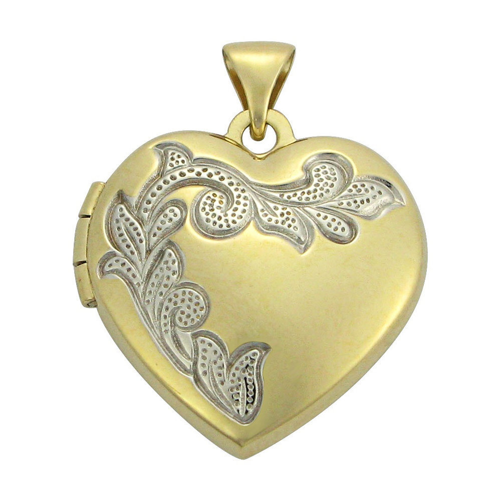 heart Medallion 2 tons in yellow gold 10k