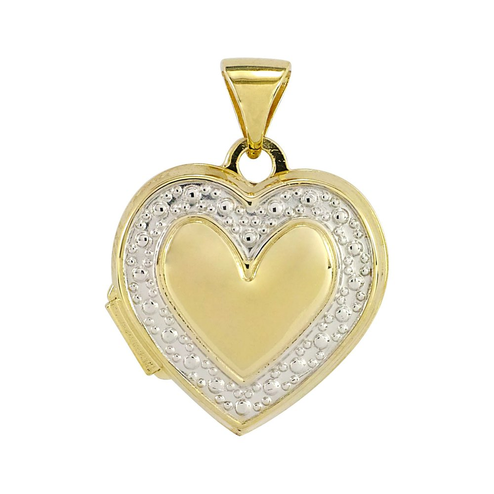 heart Medallion 2 tones in yellow gold 10k