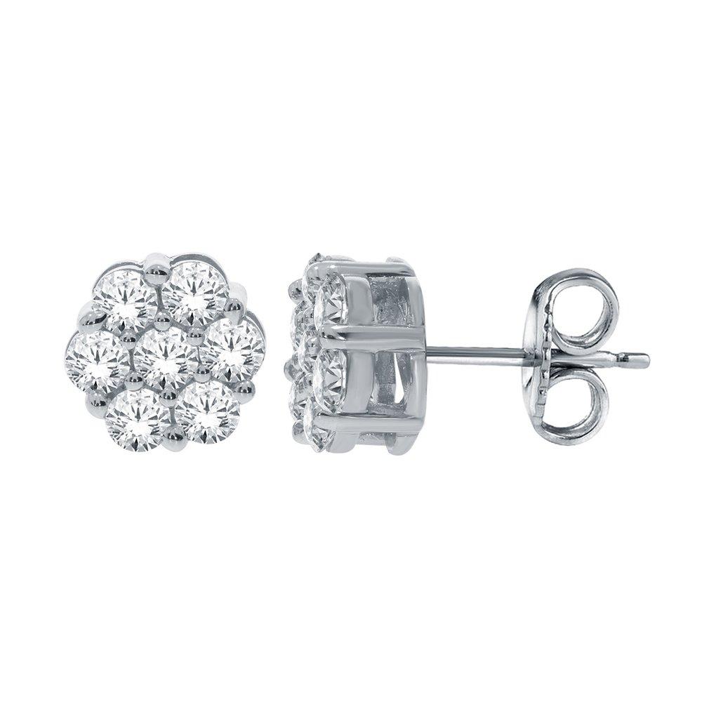Flower stud earrings - 10K white Gold & diamonds