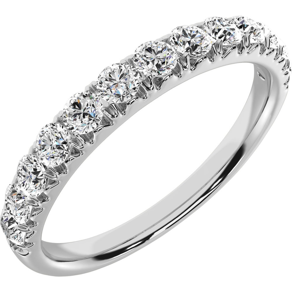 Anniversary ring for woman - 10K white Gold & Diamonds T.W. 0.50 Carat