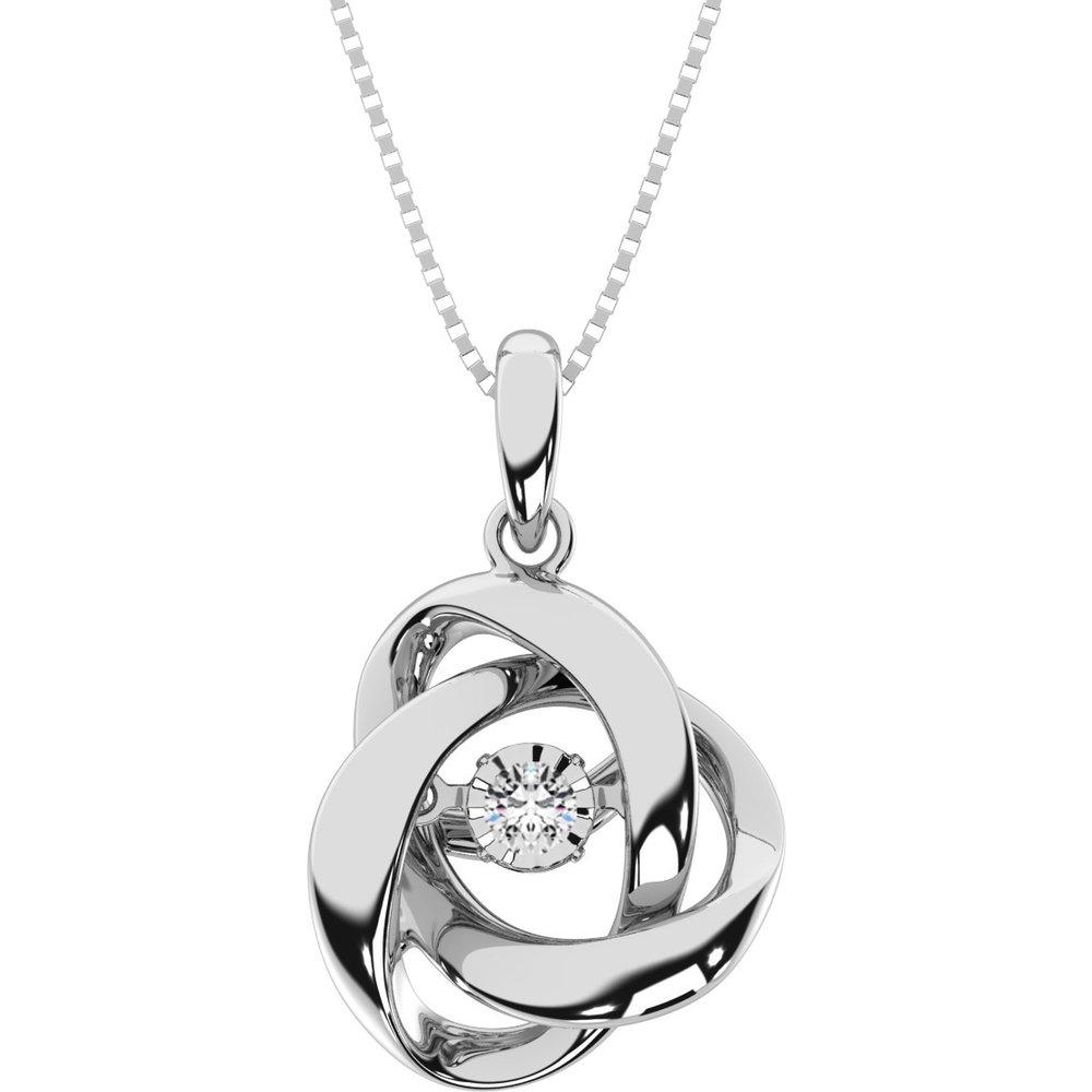 pendentif pour femme - .925 Argent sterling & Diamants dansants  - chaine incluse