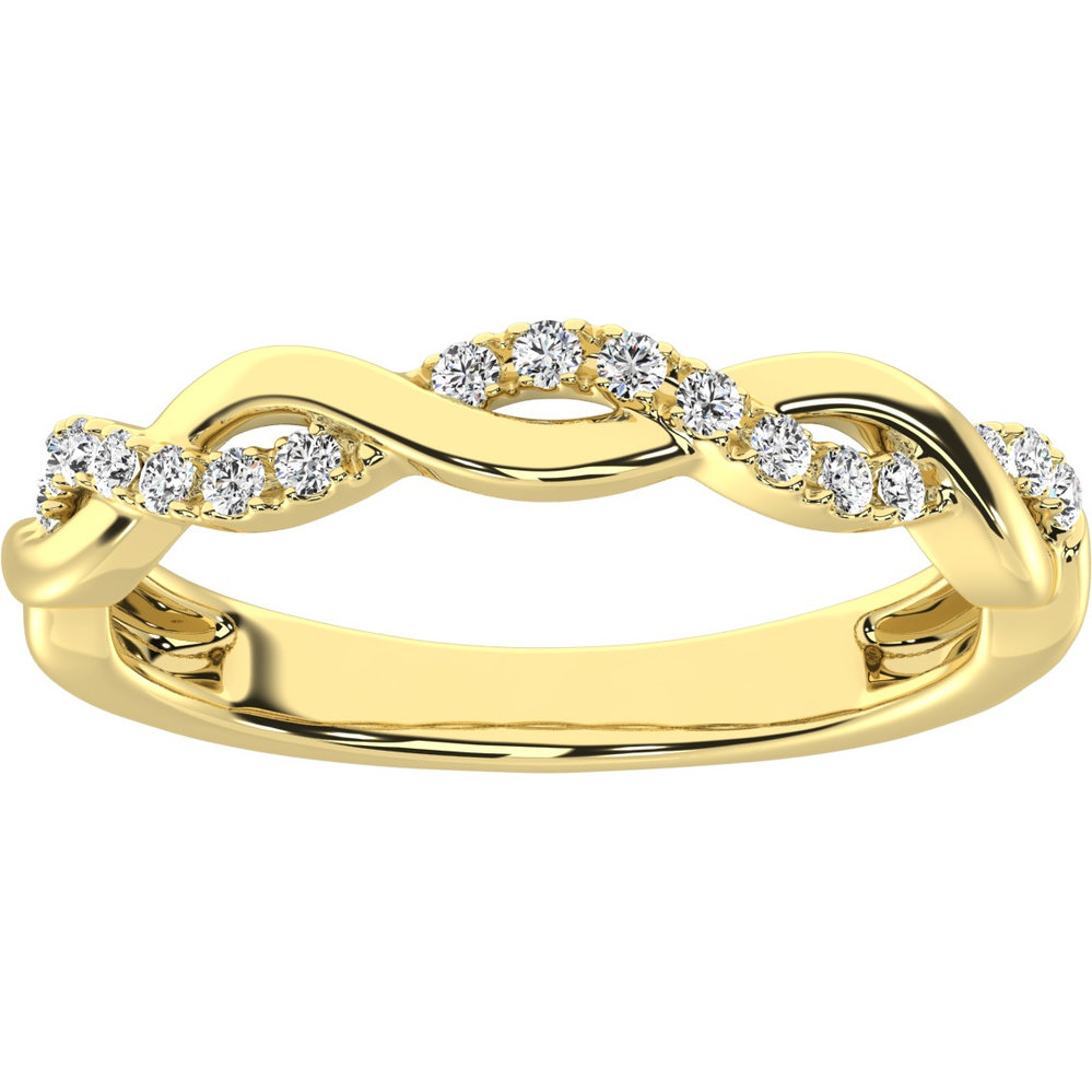 Jonc pour femme - Or jaune 10K & diamants