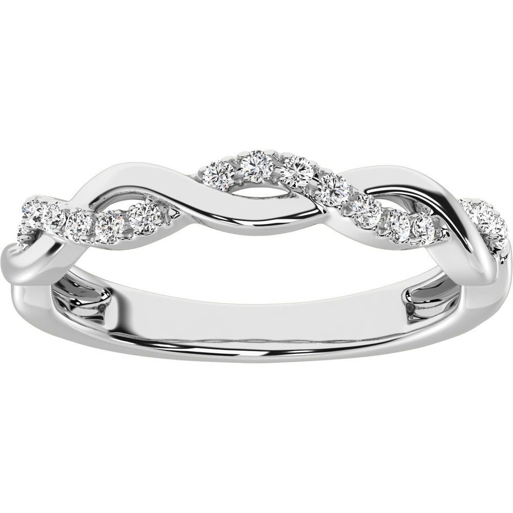 Band for woman - 10K white gold & diamonds