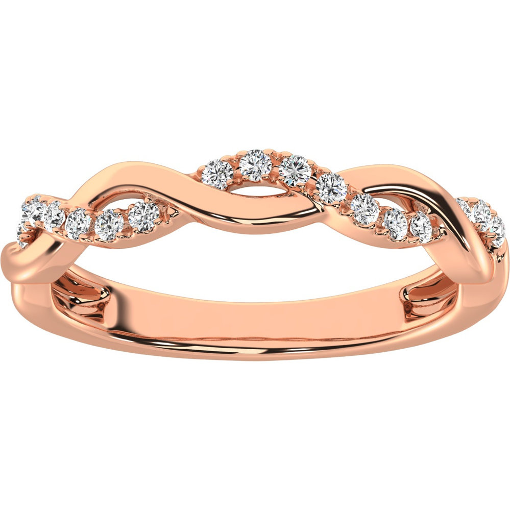 Band for woman - 10K rose gold & diamonds