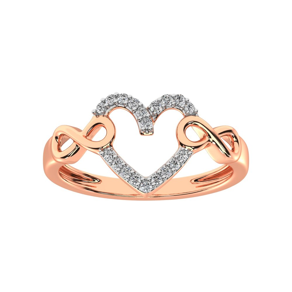 Heart rings + Infinity symbol for woman - 10K rose gold & diamonds