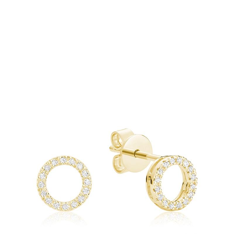 Boucles d'oreilles à tiges fixes pour femme - Or jaune 10K avec diamants