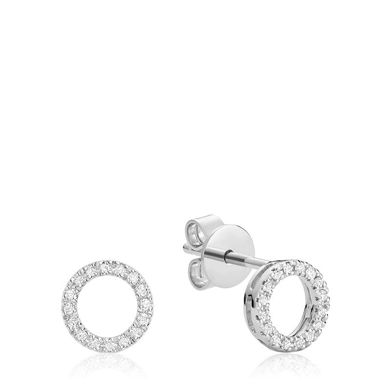 Boucles d'oreilles à tiges fixes pour femme - Or blanc 10K avec diamants
