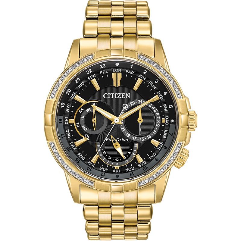 Men's watch gold-tone stainless steel case & bracelet with black dial & diamond bezel.