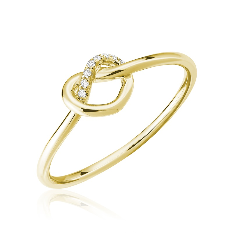 Bague pour femme - Or jaune 10K & Diamants totalisant 0.02 carat