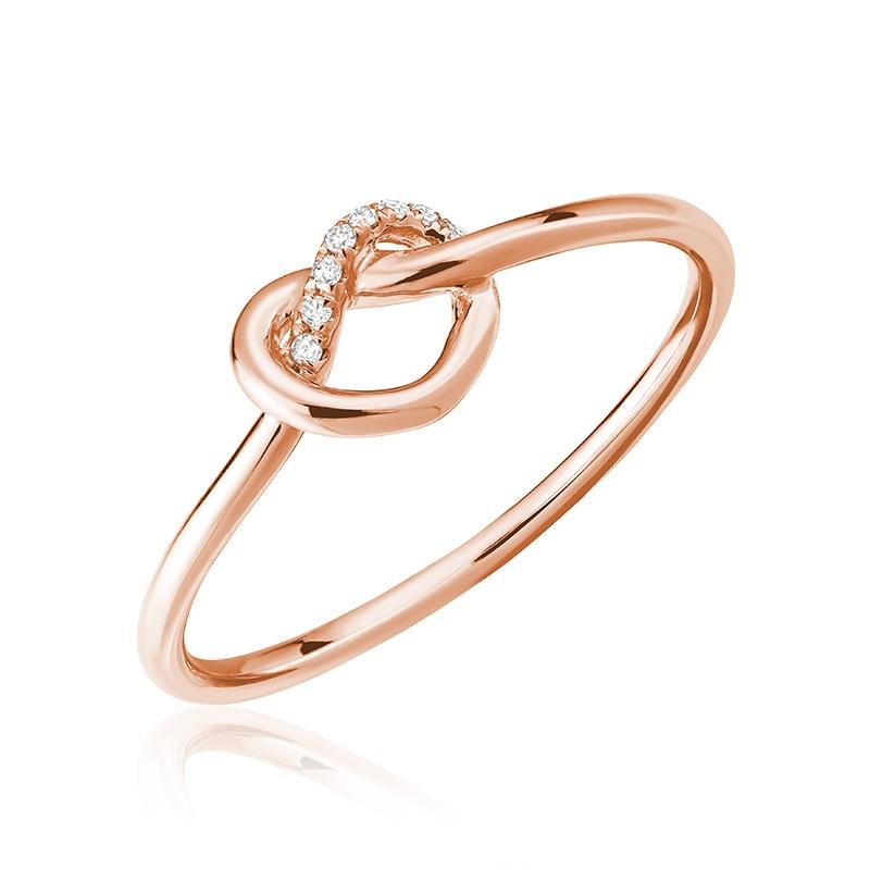 Bague pour femme - Or Rose 10K & Diamants totalisant 0.02 carat
