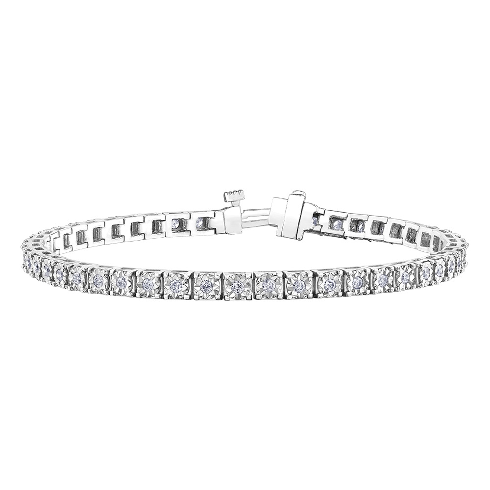 Bracelet tennis pour femme - Or blanc 10K & Diamants totalisant 1.00 carat