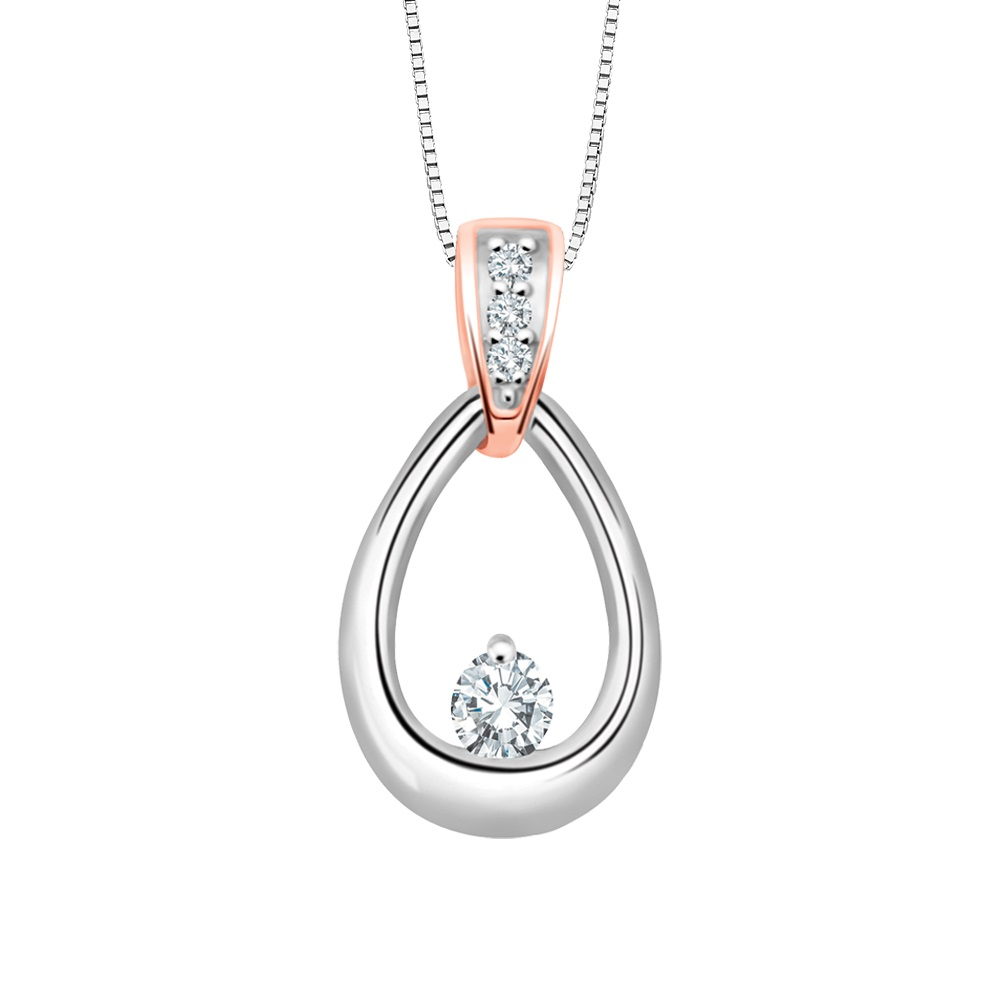 Pendentif serti d'un diamant de 0.03 Carats - en or 2-tons 10K (blanc et rose) - Chaîne incluse