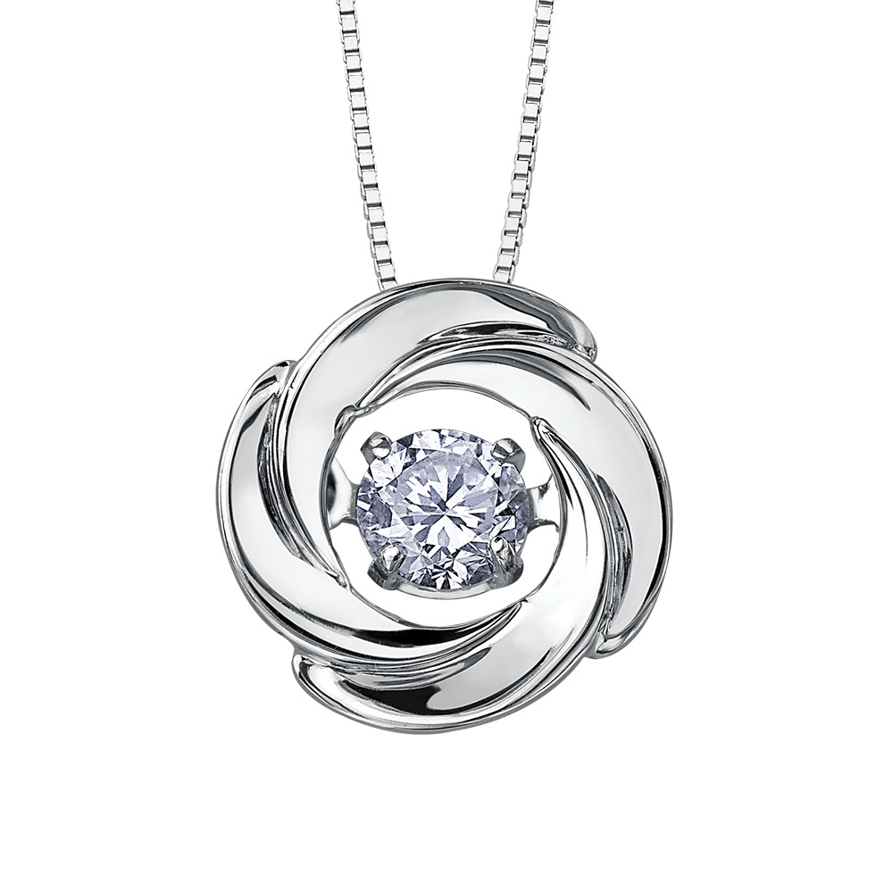 Pendant for women- 10K white Gold & Canadian diamonds 0.02 Carat T.W.