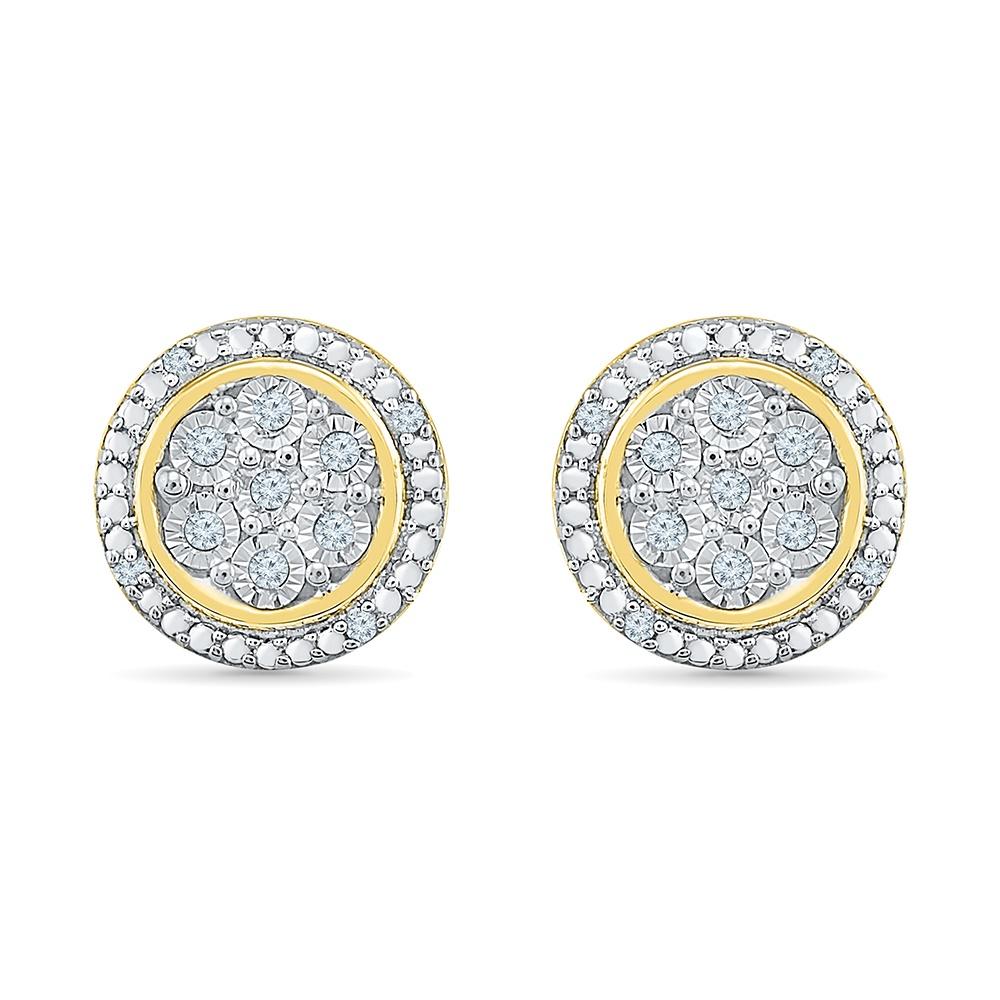 Boucles d'oreilles fixes pour femme, Or jaune 10k avec diamants totalisant 10pts.