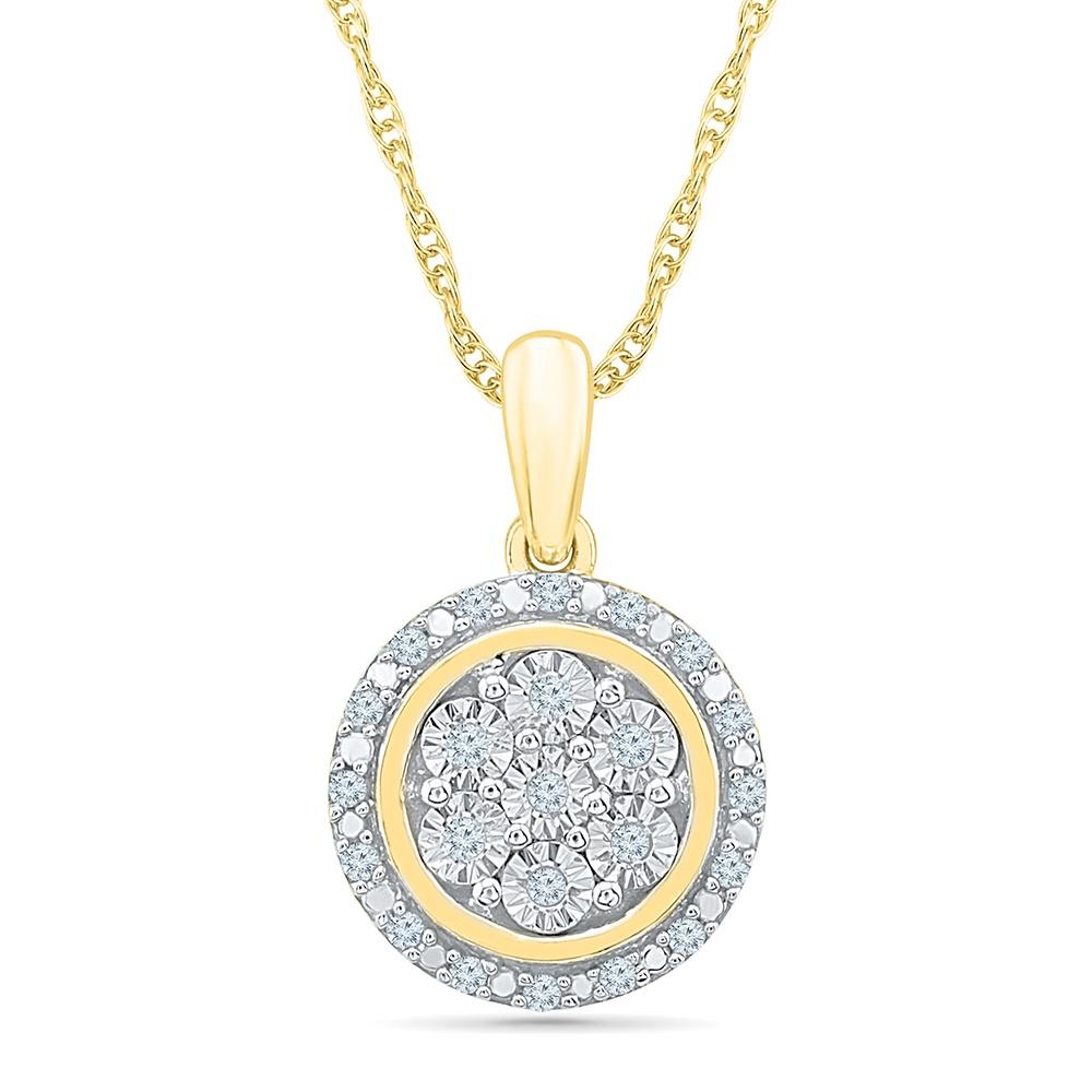 Pendentif pour femme avec Chaîne, Or jaune 10k avec diamants