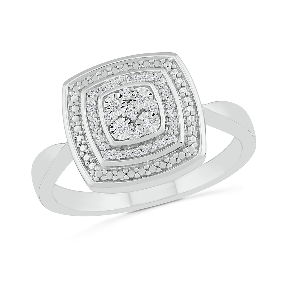 Silver .925 ring for women with diamonds 0.08 Carat T.W.