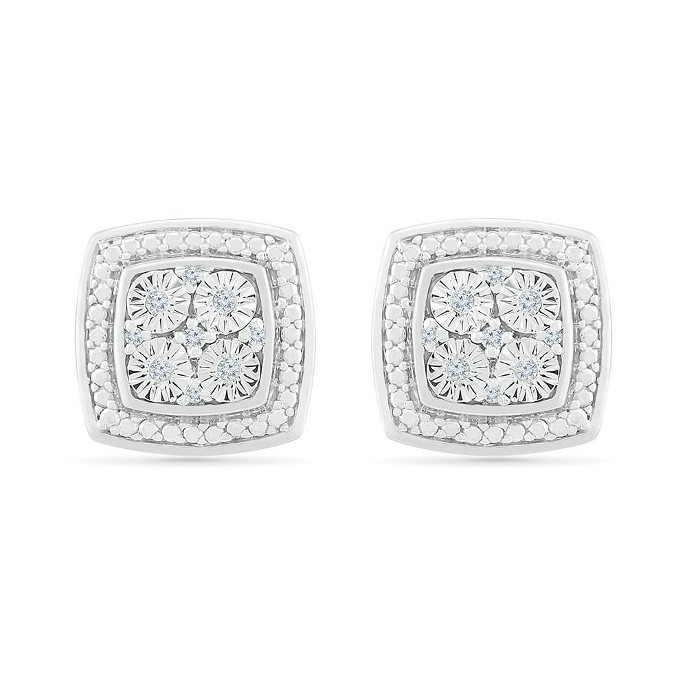 Boucles d'oreilles à tiges fixes pour femme - Argent sterling .925 & Diamants totalisant 0.05 Carat