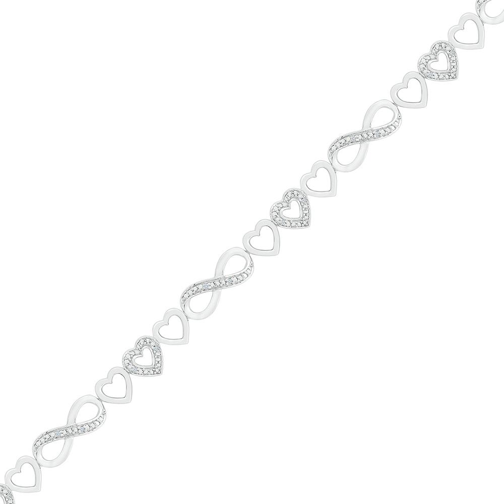 Infinity bracelet for woman - Sterling silver .925 & diamants 0.05 carat T.W.