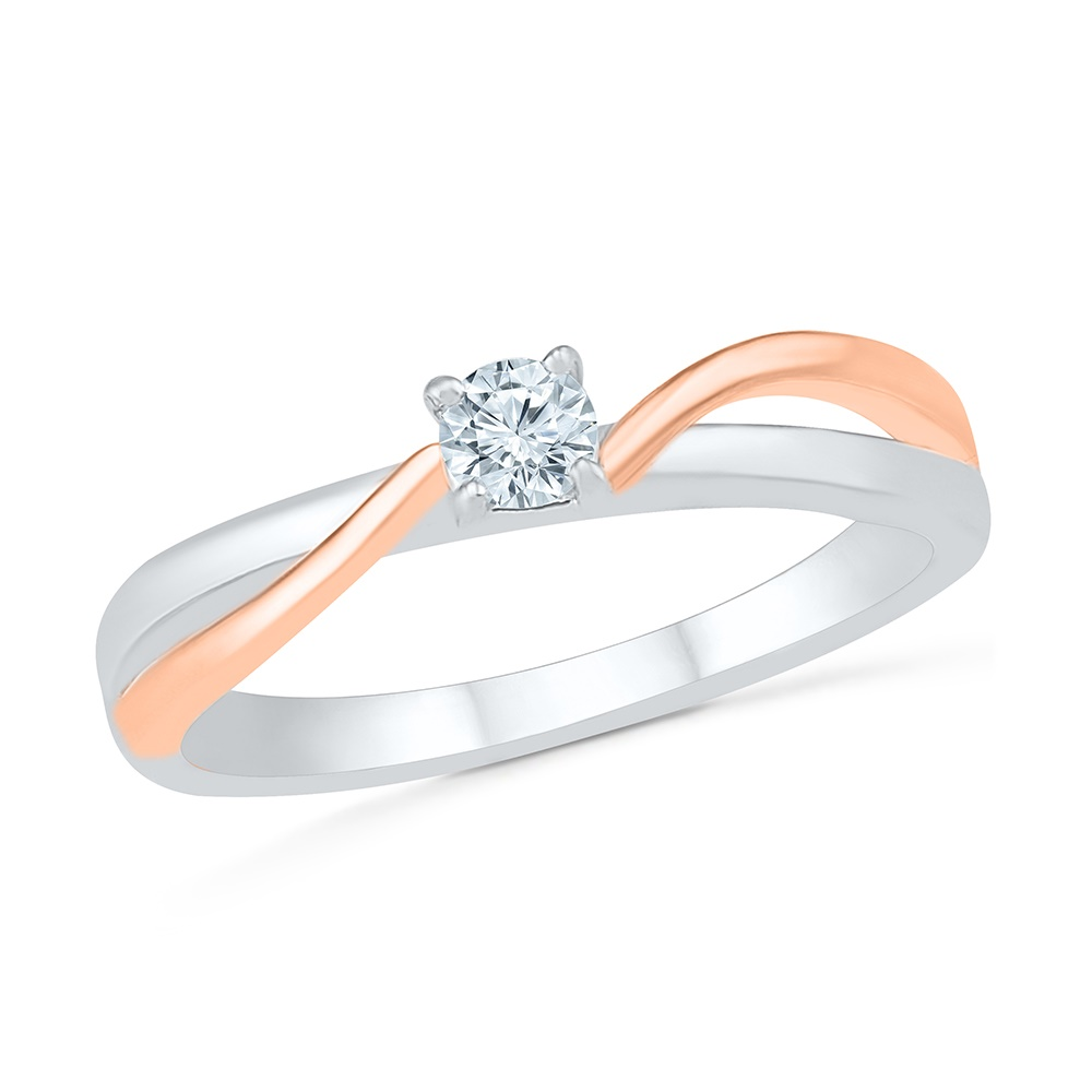 Ring for women sterling silver .925 10K rose Gold & Diamonds 16 pts T.W.