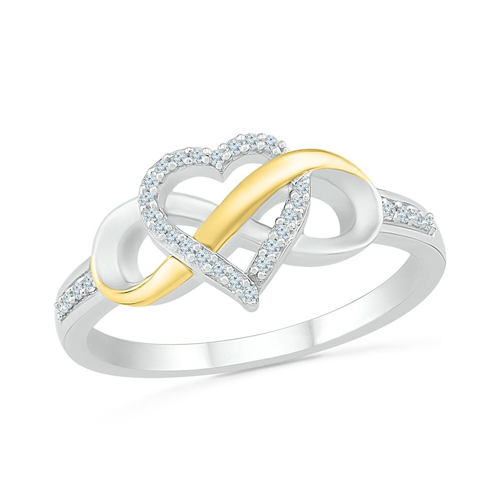 Bague coeur + symbole d'infini pour femme, argent sterling .925 et Or jaune 10k & diamants totalisant 0.10 T.W.