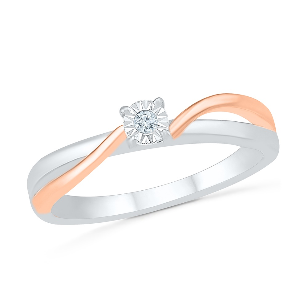 Ring for women , sterling silver .925 and 10K rose Gold & Diamonds 3 pts T.W.