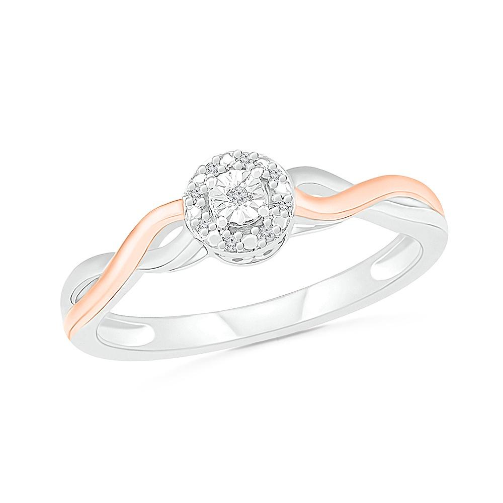 Bague pour femme en argent sterling .925 et Or rose 10K & Diamants totalisant  3 pts