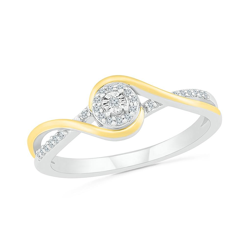 Bague pour femme en argent sterling .925 et Or Jaune 10K & Diamants totalisant 8 pts