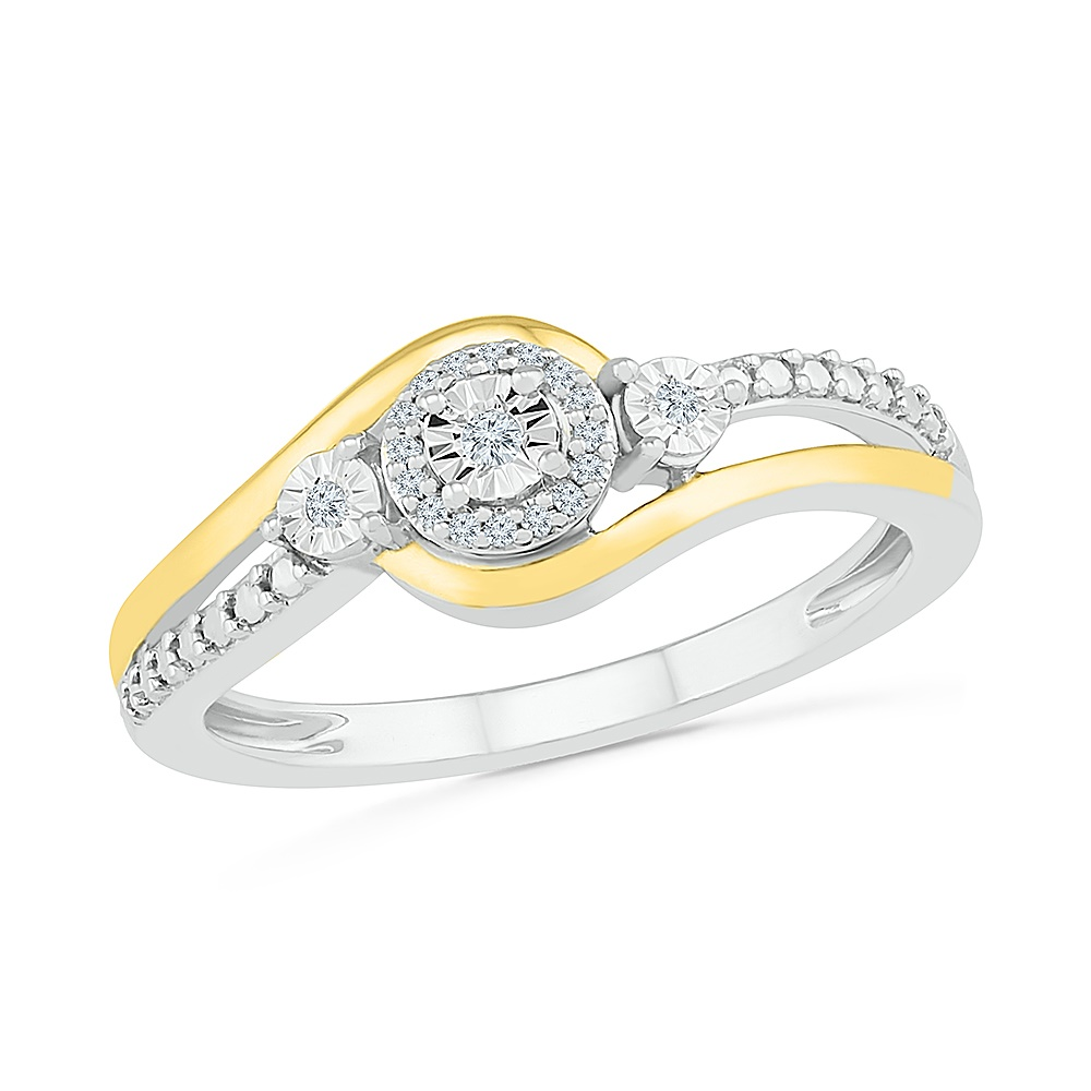 Ring for women , sterling silver .925 and 10K yellow Gold & Diamonds  7pts T.W.